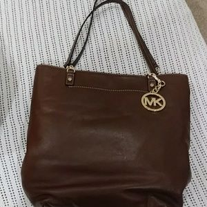 Handbag Dark Camel brown leather
